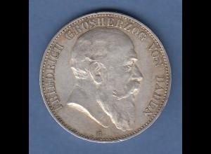Dt. Kaiserreich Baden Grossherzog Friedrich Silbermünze 5 Mark 1903 G