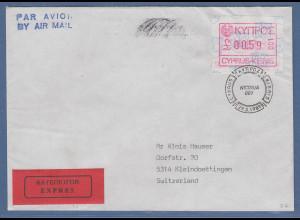 Zypern Frama-ATM 1989 Nr.001 aus OA Wert 0.59 auf Expres.-Brief in die Schweiz