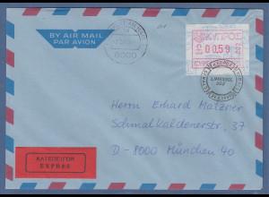 Zypern Frama-ATM 1989 Nr.002 aus OA Wert 0.59 auf Expres.-Brief nach München