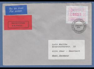 Zypern Frama-ATM 1989 Nr.002 aus OA Wert 0.59 auf Expres.-Brief nach D