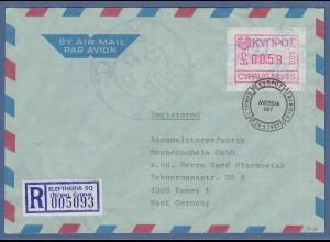 Zypern Frama-ATM 1989 Nr.001 aus OA Wert 0.59 auf R-Brief nach Deutschland