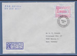 Zypern Frama-ATM 1989 Nr.001 aus OA Wert 0.59 auf R-Brief n. Deutschland
