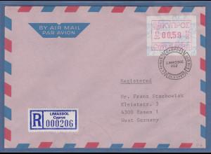 Zypern Frama-ATM 1989 Aut.-Nr.002 aus OA Wert 0.59 auf R-Brief n. Deutschland