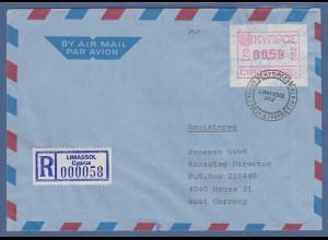 Zypern Frama-ATM 1989 Aut.-Nr.002 aus OA Wert 0.59 auf R-Brief nach Deutschland