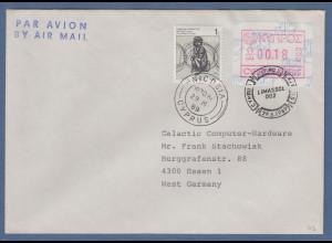 Zypern Frama-ATM 1989 Aut.-Nr.002 von VS Wert 0.18 mit ZZ-Marke auf Brief nach D