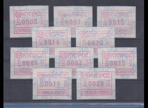 Zypern Frama-ATM 1989 Aut.-Nr. 001 u. 002 von VS je Satz 5 Werte 5-7-15-18-20 **
