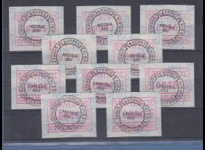 Zypern Frama-ATM 1989 Aut.-Nr. 001 und 002 von VS je Satz 5 Werte 5-7-15-18-20 O