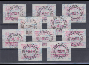 Zypern Frama-ATM 1989 Aut-Nr. 001 und 002 von VS je Satz 5 Werte 5-7-15-18-20 O