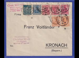 Dt. Reich Germania Privat-GA mit Zufrankatur, dabei Zusammendrucke u.a. WK2a !
