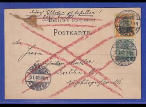 Reichspost-Germania Mi-Nr. 55 und 58 auf Eil-Postkarte aus Dresden, 1902