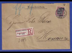Reichspost-Germania 40Pfg Mi-Nr. 60 auf R-Brief von Frankfurt nach Hanau, 1902