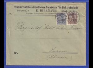 Reichspost-Germania 2 und 3 Pfg. auf Auslands-Drucksache von Berlin nach Luzern