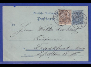 Reichspost-Germania 3 Pfg. b-Farbe als Zufr. auf Ganzsache 1901 gel. ab Leipzig