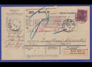 Reichspost-Germania 80 Pfg Mi.-Nr. 62 als EF auf Paketkarte aus Berlin nach CH