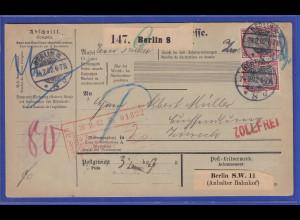 Reichspost-Germania 40Pfg Mi-Nr 60 Paar als MEF auf Paketkarte von Berlin n. CH