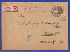 Dt. Reich Germania 25Pfg Mi.-Nr. 73 auf R-Brief von Pankow nach Berlin SW 1903
