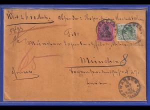Dt. Reich Germania 80Pfg Mi.-Nr. 77 in MIF auf Wertbrief von Wangen nach München