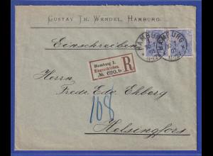 Reichspost-Germania 20Pfg Mi-Nr 57 Paar MEF auf Auslands-R-Brief aus Hamburg