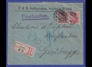 Reichspost-Germania 10 und 50Pfg Mi-Nr 56 und 61 auf AuslandsR-Brief aus Schwelm