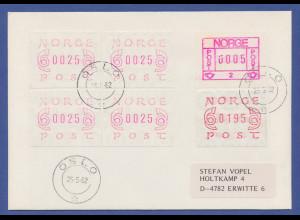 Norwegen Frama-ATM , Brief mit MIF 1. und 2. Ausgabe, dabei Farbmischtönungen !