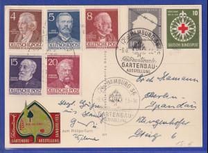 Berlin und Bund div Werte auf Karte mit So.-O GARTENBAU-Ausstellung 1953 Hamburg