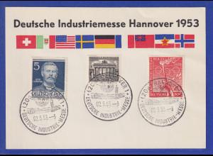Berlin Mi-Nr 90 und 92 mit So.-O HANNOVER Industrie-Messe 1953 auf Sonderkarte
