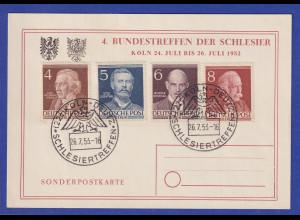 Berlin Männer 4 Werte mit So.-O auf Postkarte 4.Bundestreffen der Schlesier 1953
