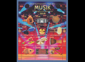 UNO Wien 2018 Weltmusiktag: Schlaginstrumente Mi.-Nr. 1029-1040 KLB **