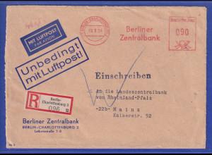 Berlin 1954 Luftpost-R-Brief nach Mainz, Freistempel Berliner Zentralbank 90Pfg