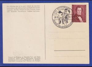 Berlin Lortzing Mi.-Nr. 74 auf Karte Turn- und Sport-Ausstellung Stuttgart 1951
