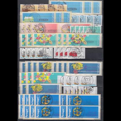 ATM Portugal 1990-1998 Sortiment versch. kpl. Sätze, insgesamt 87 ATM, alle O