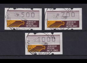 Mexiko Klüssendorf-ATM 1. Ausgabe x-Papier Satz 3 Werte 500-700-1000 O 2.7.90