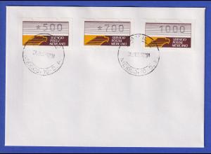 Mexiko Klüssendorf-ATM 1. Ausgabe x-Papier Satz 3 Werte 500-700-1000 auf Brief