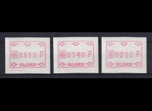 Finnland Aaland 1984 FRAMA-ATM Posthörner, Mi.-Nr. 1 Satz 110-140-200 **
