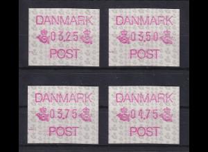 Dänemark 1990 FRAMA-ATM Postembleme, Mi.-Nr. 1 Satz 3.25-3.50-3.75-4.75 **