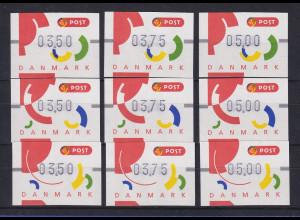 Dänemark 1995 FRAMA-ATM Segmente I, Mi.-Nr. 2-4 je Satz 350-375-500 **