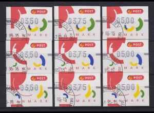 Dänemark 1995 FRAMA-ATM Segmente I, Mi.-Nr. 2-4 je Satz 350-375-500 ET-O