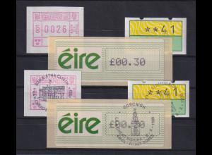 Irland Lot je eine ATM der Mi.-Nr. 1, 2 und 3 ** und mit ET-Vollstempel
