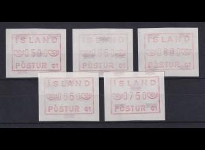 Island Frama-ATM 1.Ausgabe 1983, Aut.-Nr. 01, Mi.-Nr. 1.1.1 b Serie 5 Werte **