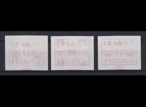 Island Frama-ATM Aut.-Nr. 01, Mi.-Nr. 1.1.1 c Satz 2100-2600-4000 ** (1989)