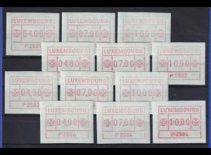 Luxemburg FRAMA-ATM 1.Ausgabe erste 4 Aut.-Nr. P2501-P2504 je Satz 4-7-10 **