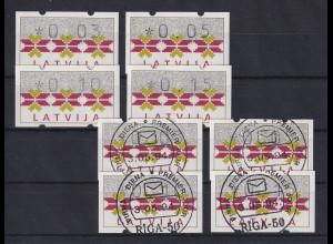Lettland Klüssendorf-ATM Ausgabe 1994, Satz 0,03-0,05-0,10-0,15 ** und mit ET-O