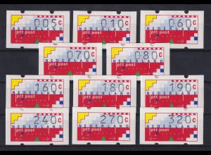 Niederlande Klüssendorf-ATM Mi.-Nr. 1 Versandstellen-Satz VS4 11 Werte 5-320 **