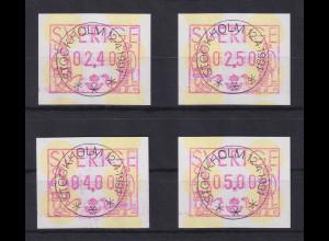 Schweden 1991 , FRAMA ATM Mi.-Nr. 1 Satz 4 Werte 240-250-400-500 ET-O
