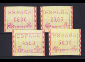 Spanien Frama-ATM Postemblem, Mi.-Nr. 1 ud Satz 4 Werte 8-20-45-50 **