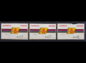 Spanien ATM Postemblem Typ III, Druck Epelsa mit Sternen Mi.-Nr. 4.3.2.1 Satz **