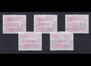 Zypern Frama-ATM 1989 Aut.-Nr. 002 von VS Satz 5 Werte 5-7-15-18-20 **