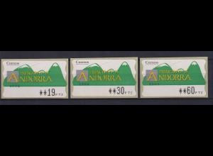 Andorra ATM Berge, Mi.-Nr. 1 Wert 4-stellig Aut.-Nr. 1002 Satz 19-30-60 **