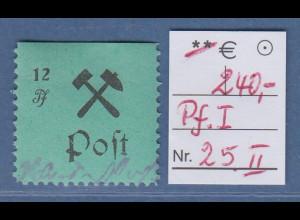 Lokalausgaben Großräschen 1945, 12 Pfg.-Wert Mi.-Nr. 25 II mit PLF offenes P **