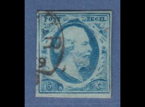 Niederlande 1852 König Willem III. 5 C hellblau Mi.-Nr. 1a gestempelt